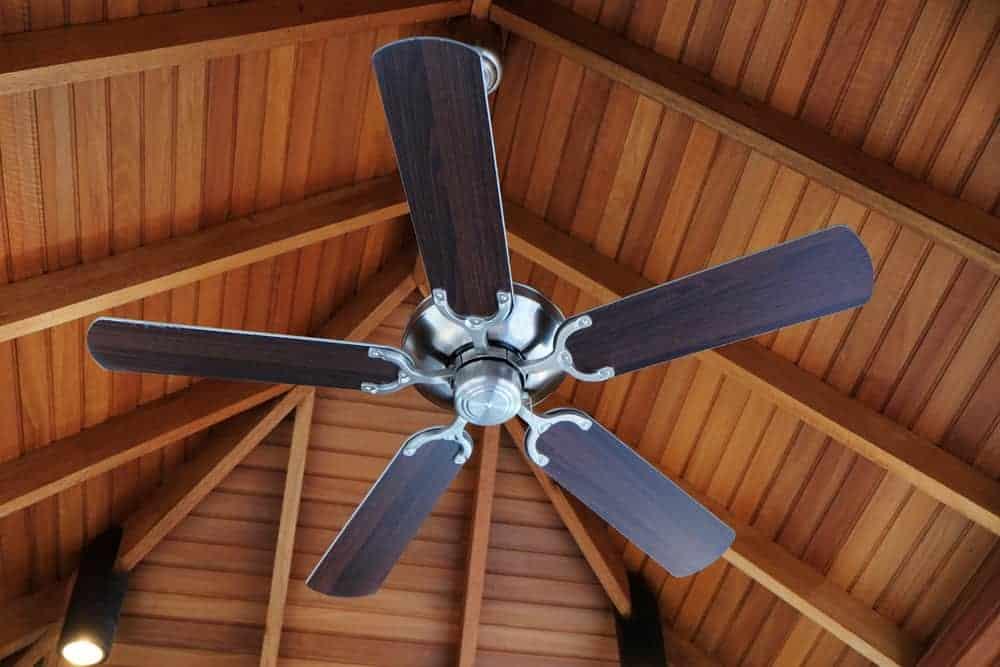 Ceiling Fan in a comfy log cabin